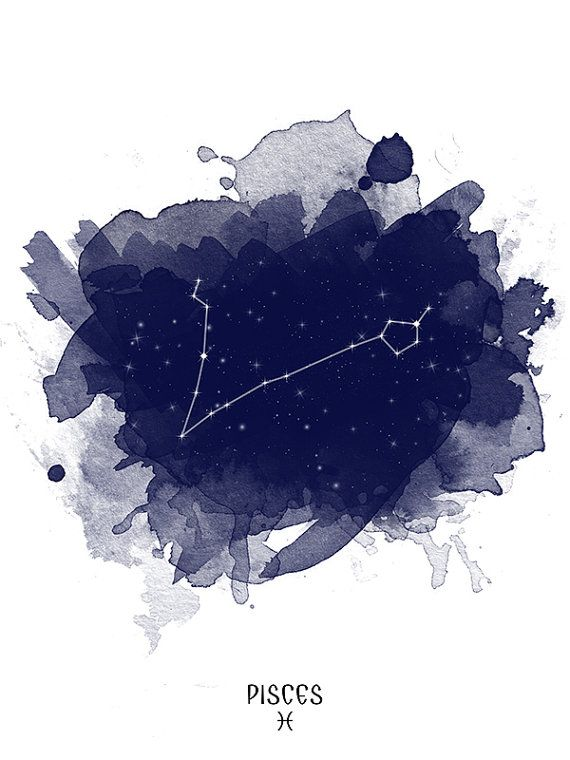 Pisces Constellation, Zodiac Constellation, Pisces zodiac, Stars constellation, Astrology print, Astronomy print, Astrology Watercolor print, Wall