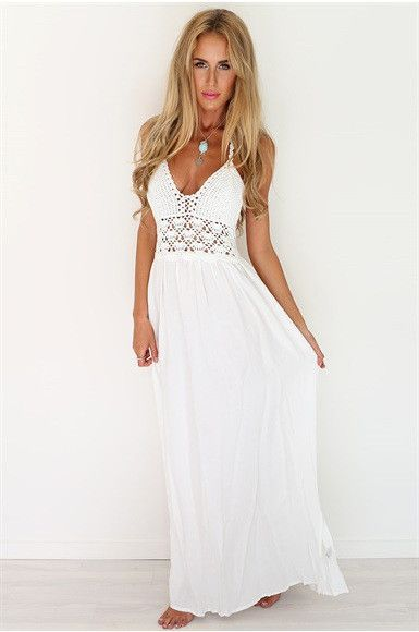 New Fashion White Sling V-Neck Backless Sexy Dress Sleeveless Hollow Out Summer Women Beach Dress