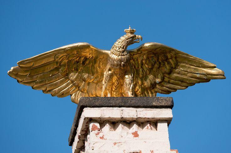 Cottbus, Branitzer Park: Goldener Adler auf dem Marstall
