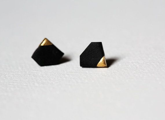 Black Gold Dipped Tiny Diamond Shape Studs, Diamond jewelry, Diamond Shape Earrings, Black Gold Dipped, Geometric Earrings