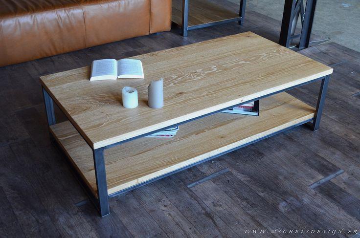 Table basse deux plateaux bois