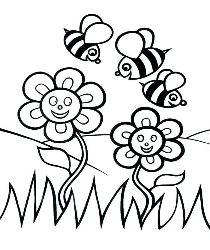 Spring Flowers Coloring Pages Printable Page Rhpinterest: Coloring Pages Bees Flowers At Baymontmadison.com