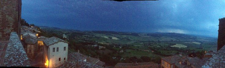 Montepulciano, Italy with rain and thunder clouds