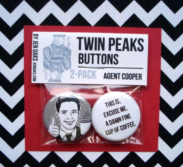 Twin Peaks Buttons - Agent Cooper. $3.50,  by Jen Oaks