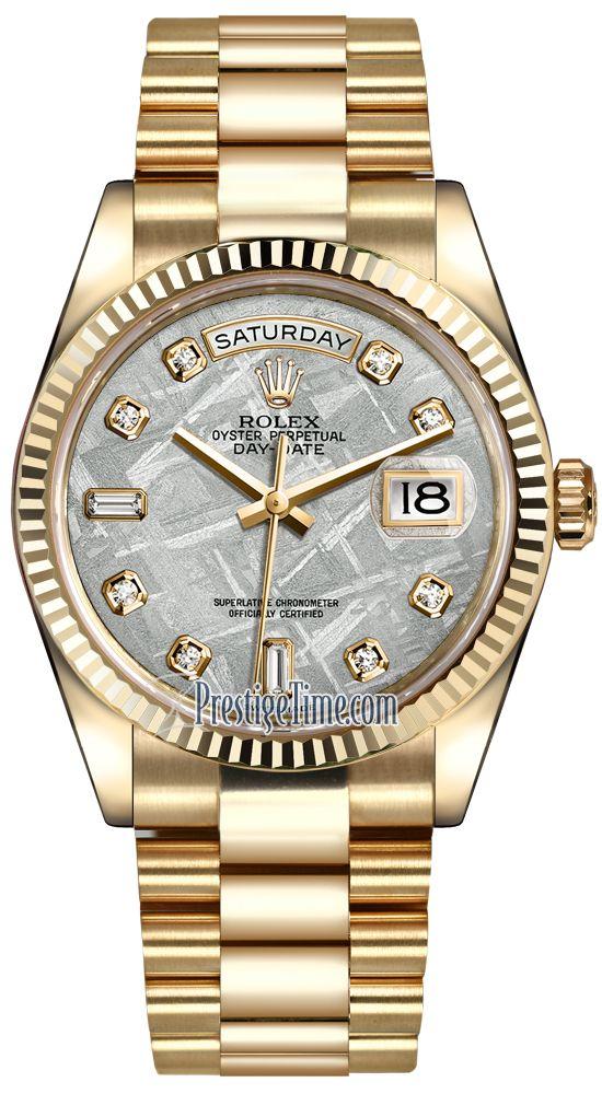 Rolex Day-Date 36mm Yellow Gold Fluted Bezel 118238 Meteorite Diamond President
