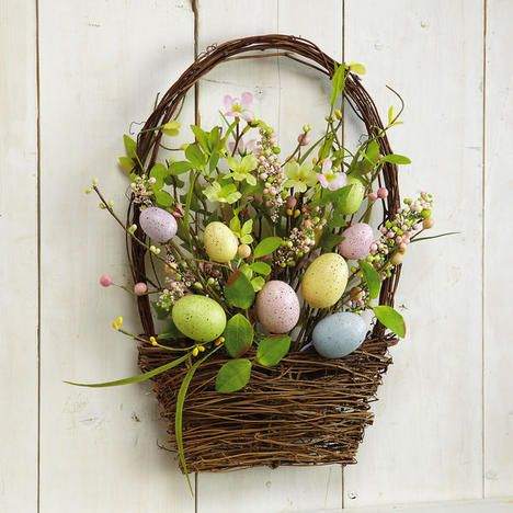 Hanging Basket with Easter Eggs
