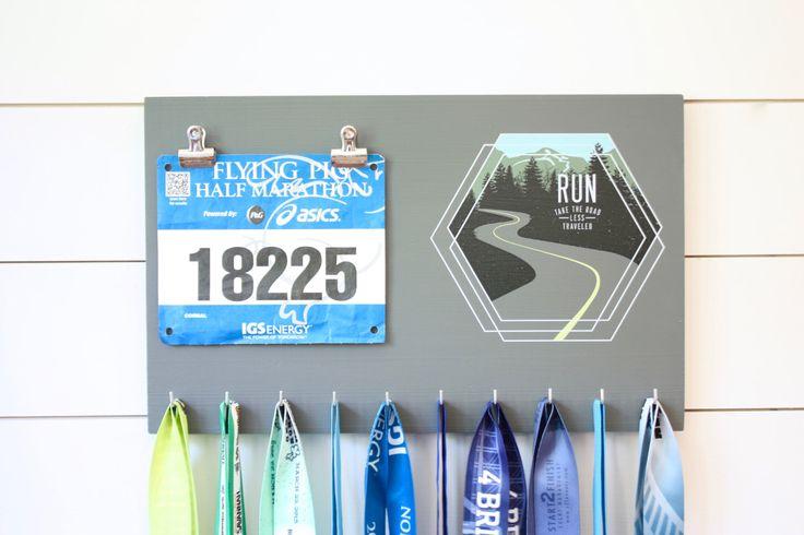 Running Medal Bib Holder Run Take the Road Less Traveled - Medal Holder, Medal Rack, Medal Display, Race Bib Display, Race Bib Holder by YorkSignShop on Etsy https://www.etsy.com/listing/464953003/running-medal-bib-holder-run-take-the