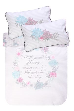 "Go to bed with this inspirational quote and wake up feeling motivatedThis 132 thread count polycotton duvet cover set has a feminine script placement print creating a classic look for any room. Single and three quarter include 1 standard pillowcase, double, queen, king and super king include 2 standard pillowcases.<div class=""pdpDescContent""><BR /><BR /><b class=""pdpDesc"">Fabric Content:</b><BR />45% Cotton 55% Polyester<BR /><BR /><b class=""pdpDesc"">Wash Care:</b><BR>Lukewarm machine…"
