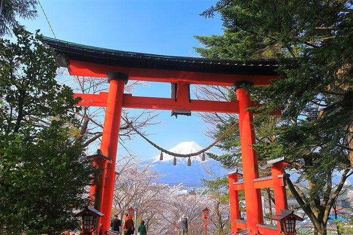Mount Fuji and the shrine gate