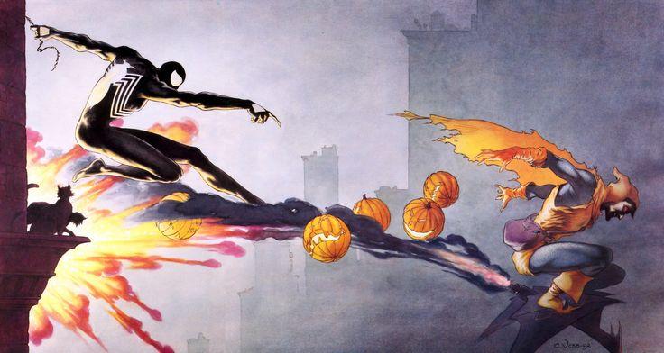 Symbiote black suit spiderman and hobgoblin wallpaper
