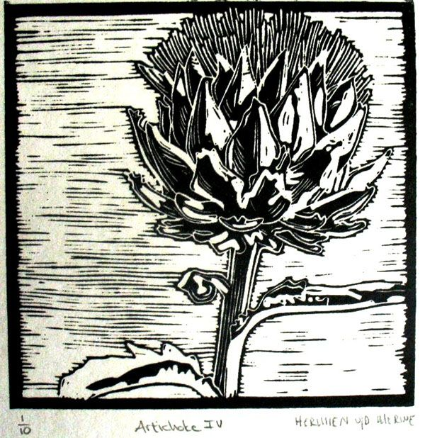 Title: Artichoke IV Medium: Linotype Edition: 1/10 Size: 200 x 200mm Artists thoughts: Artichokes are wholesome food with deeper symbolic meaning to me. The vegetable needs to be cooked well to be enjoyed. The hard outer layers need to be peeled away to get to the heart of the artichoke. God also peeles away our outer layers to get to our heart – He is interested in our hearts.