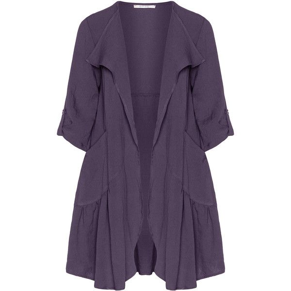 Oliver Jung Purple Plus Size Crinkled open jacket ($130) ❤ liked on Polyvore featuring outerwear, jackets, plus size, purple, slim jacket, purple jacket, lapel jacket, womens plus size jackets and 3/4 sleeve jacket