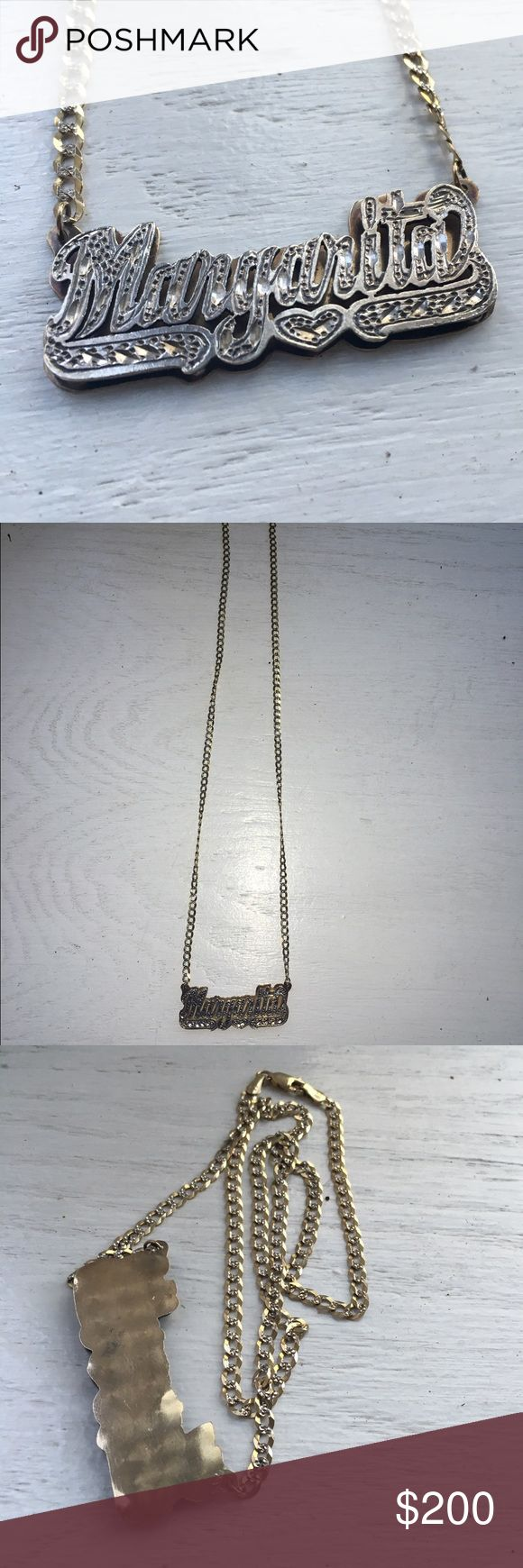 Gold chain namesake nameplate necklace margarita Margarita name plate, paid $600 for this, I have no idea what K it is so please don't ask. Such good quality and a bargain price ;) Louis Vuitton Jewelry Necklaces
