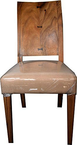 Chamcha Wood Exotic Dining Chair - Brown Seat Cover (Tan)