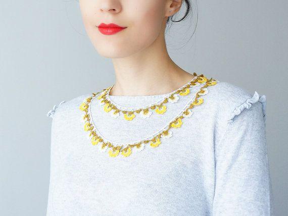 Necklace // Handmade Crochet Flower Earrings  White by Sudrishta