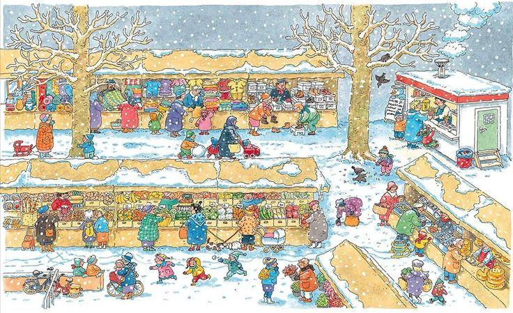 Praatplaat Bas - winter markt (Getekend door Dagmar Stam)