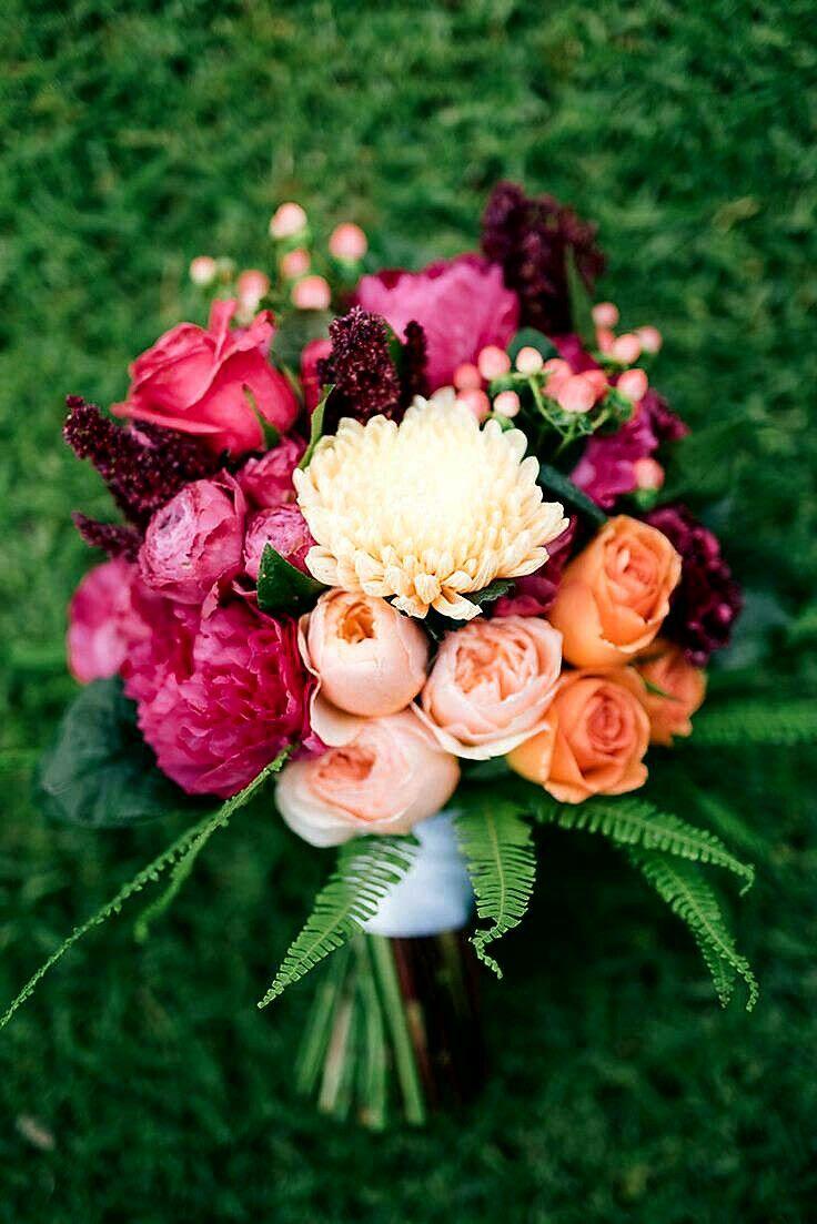 Peach Juliet David Austin English Garden Roses, Pastel Peach Dahlias, Orange Roses, Fuchsia Peonies, Hot Pink Roses, Red Amaranthus, Coral Hypericum Berries & Green Sword Fern = Beautiful Hand Tied Wedding Bouquet^^^^