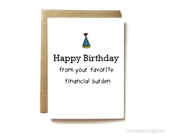 Funny Birthday Card For Mom Or Dad Funny Parent Birthday Card