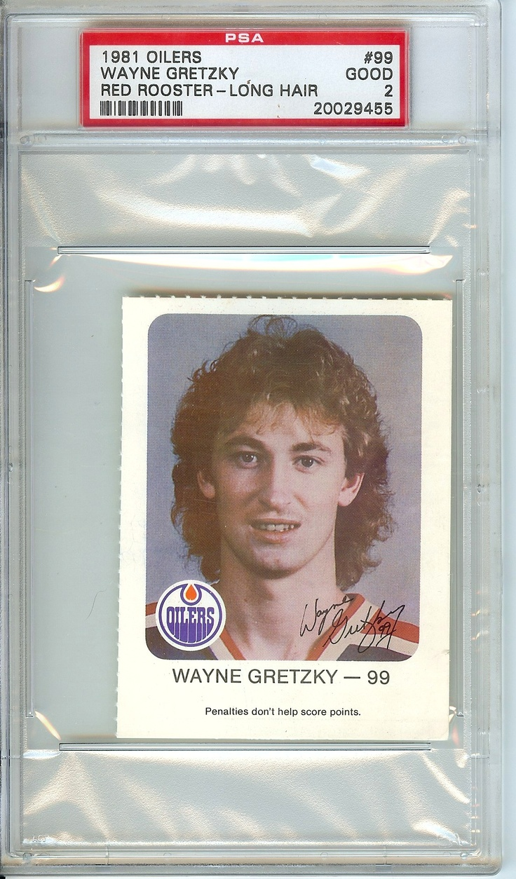 "Wayne Gretzky 1981 Red Rooster card, recalled ""long hair"" version. Finally added the Holy Grail of Gretzky cards to my collection."