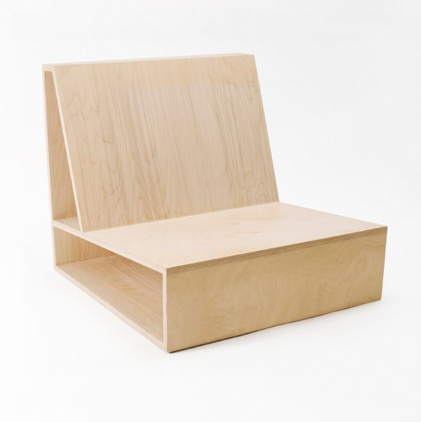 THE Chair by Pierre Thibault P- 'Comfortable without cushions', raw and truthful with wooden materials, storage space, minimal construction, comfortable angle, practical, able to sit with any position, geometric N- Angle may be hard to exit from, prolonged use my result in fatigue I- Minimal to base structure, storage, angles