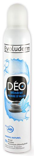lot 3 deodorants femme evoluderm mineral pierre d'alun 200ml neuf