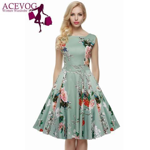 ACEVOG Women's Retro Vintage Floral Dress