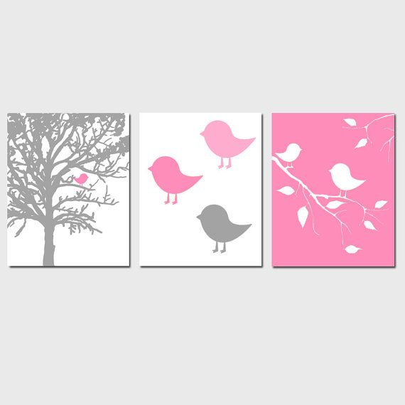 Modern Bird Trio - Set of Three 8x10 Nature Prints - Nursery Decor - Choose Your Colors - Shown in Yellow, Gray, Pink, Mint Green, and More on Etsy, $55.00