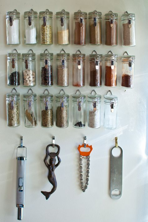 spice cabinet: Spices Storage, Wall Spaces, Bottle Open, Hanging Spices, Spices Racks, Spices Jars, Spice Racks, Spices Organizations, Kitchens Storage