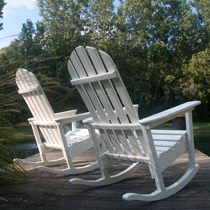 "Poly-wood Classic Adirondack Rocking Chair   Eco-friendly product - ""plastic lumber""  made from bottle waste, such as milk and detergent bottles."