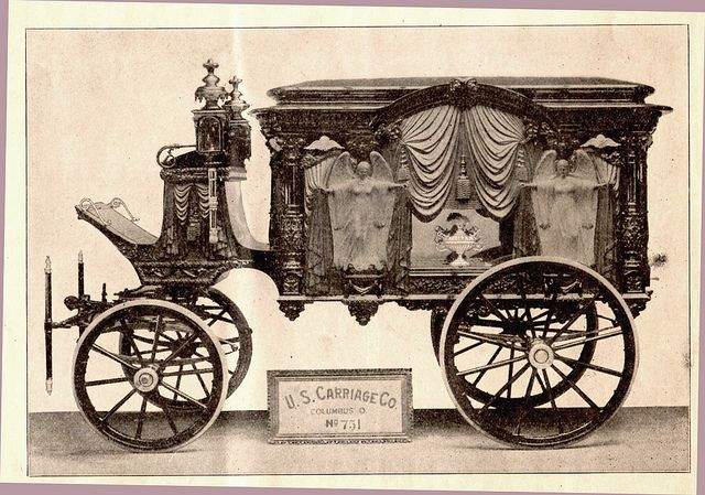 """Beautiful old hearse by U.S. Carriage Co. - from """"The Casket"""" magazine for funeral directors, 1909"""