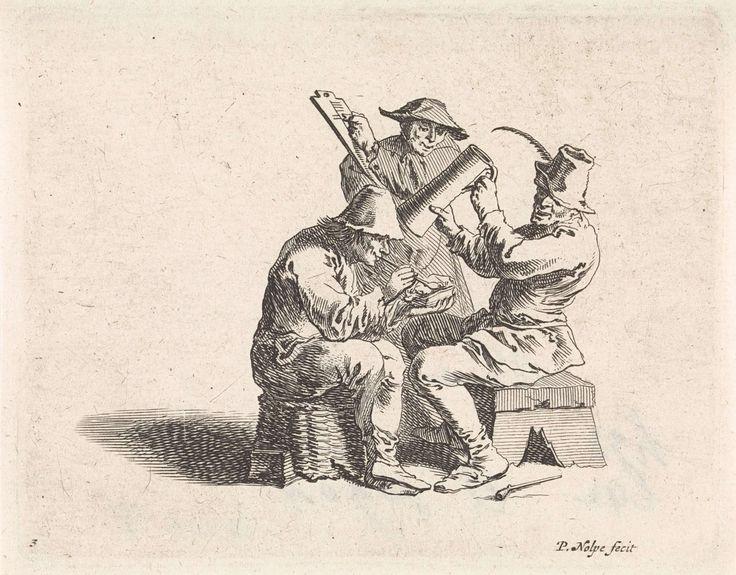 Pieter Nolpe   Drinkende en rokende boeren, Pieter Nolpe, Pieter Jansz. Quast, 1633 - 1784   Twee boeren zitten tegenover elkaar, de een op een omgekeerde mand, de ander op een bank. De boer links steekt zijn pijp aan, de boer rechts heft zijn bierkroes. Achter hen maakt de waard met krijt een aantekening van de genuttigde consumpties op een bord. Prent maakt deel uit van een serie met scènes uit het boerenleven.