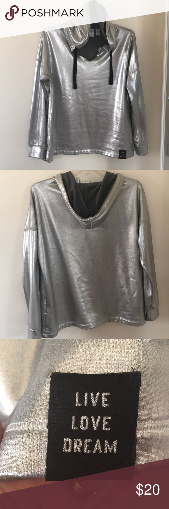 "❤️NWOT❤️ Aeropostale Metallic Hoodie ❤️Brand new without tags❤️ size XL Aeropostale Metallic hoodie. Cute tag on bottom left that says ""LIVE LOVE DREAM"". Never worn. Has stretch to it. Super soft fleece inside. Aeropostale Tops Sweatshirts & Hoodies"