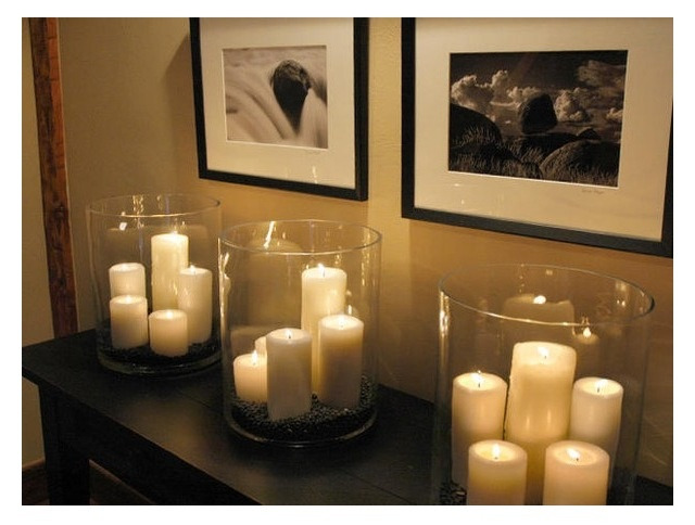 I COULD USE SMALL CANDLES IN MY GLASS BOWL WITH FLOWER OUTLINES = Cheap candles, vases, coffee beans
