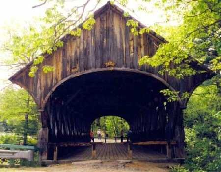 Sunday River or Artist Bridge near Bethel, Maine. Closed to motor traffic in 1958.