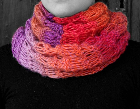 Neck warmer multi-coloured yarn by MmeDefargeYarnworks on Etsy