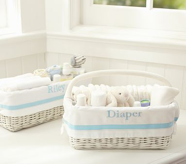 Harper nursery baskets- can personalize and comes in blue, pink, purple, gray, khaki, navy, and green (Pottery Barn Kids)