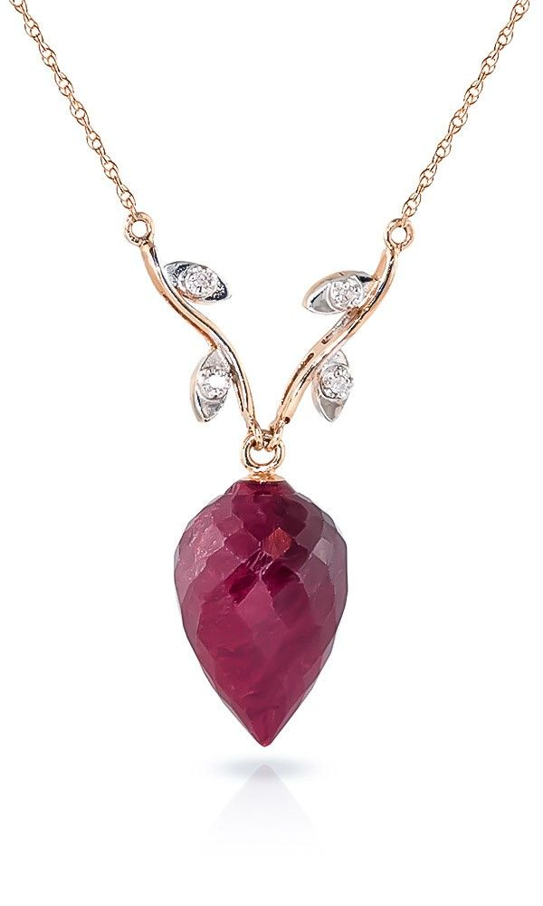 9ct Rose Gold Drop Necklace with 13.0ct Ruby Pendant