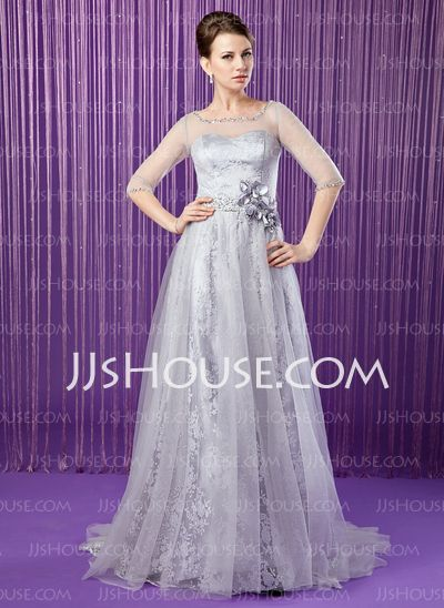 Mother of the Bride Dresses - $156.99 - A-Line/Princess Scoop Neck Sweep Train Tulle Charmeuse Lace Mother of the Bride Dress With Beading Flower(s) Sequins (008018962) http://jjshouse.com/A-Line-Princess-Scoop-Neck-Sweep-Train-Tulle-Charmeuse-Lace-Mother-Of-The-Bride-Dress-With-Beading-Flower-S-Sequins-008018962-g18962