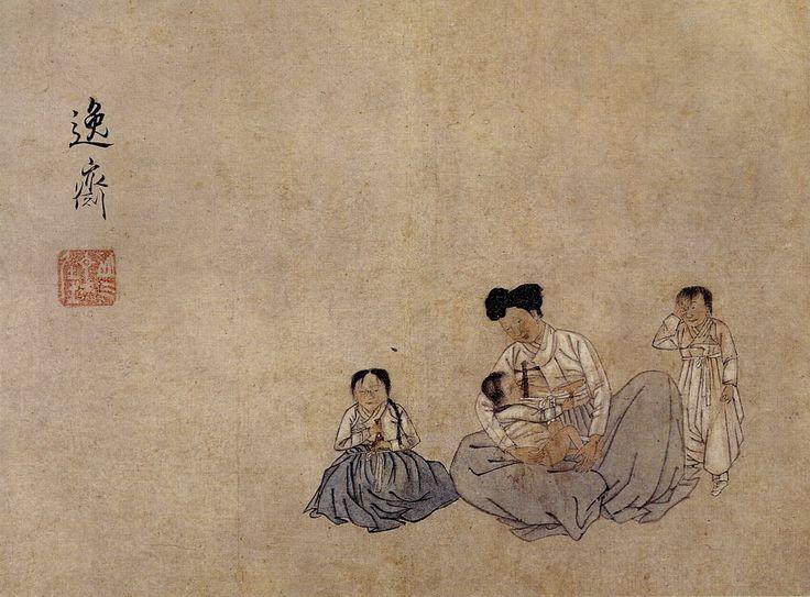 """신한평, """"자모육아도"""", 지본담채, 간송미술관."""