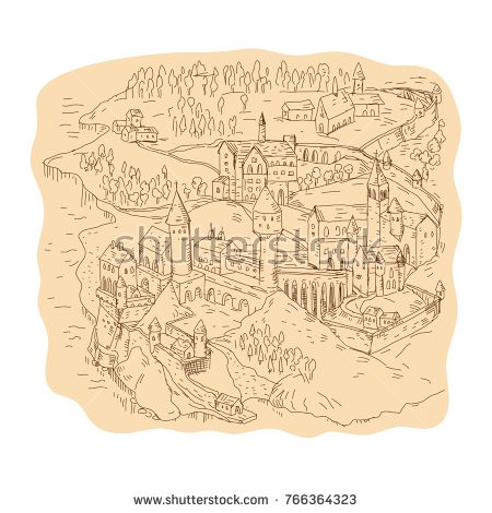 Drawing sketch style illustration of a medieval fantasy map, cartography showing castle, village, church, tower, mountains and trees.  #map #drawing #illustration