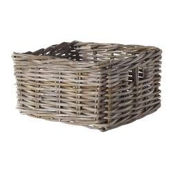 "Basket for under bedside table - BYHOLMA Basket, gray - gray - 9 ¾x11 ½x6 "" - IKEA"