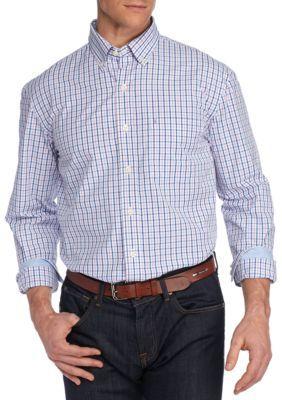 Izod Men's Big & Tall Essential Poplin Tattersall Shirt - Sheer Lilac - 3Xlt