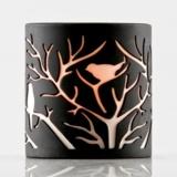 Porcelain Tealight Holder (Charcoal) - Bird