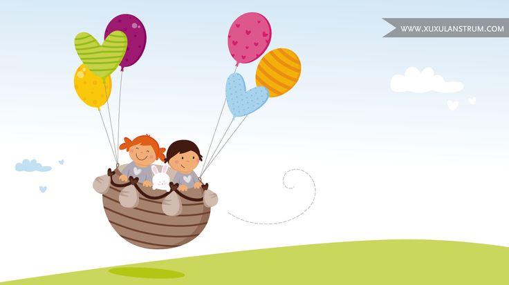 Ilustración de niños volando con globos para la Asociación Somnis.