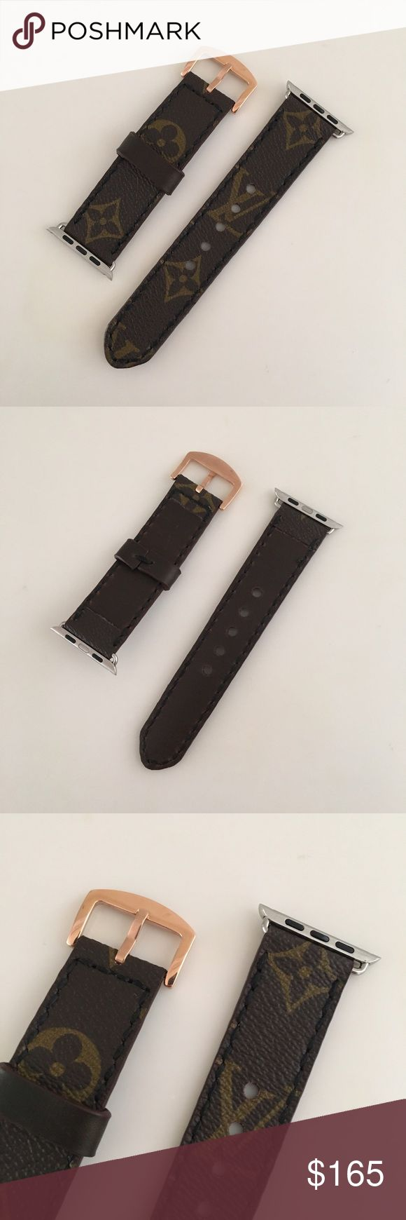 Custom Louis Vuitton Watch Strap Brand new, never used Louis Vuitton Apple watch strap for 42mm. It's a custom strap that is handmade by The leather from a recycled Louis Vuitton bag, lined with Horween Chrimexcel leather and sticker with white color waxed thread. 42mm Apple Watch adapters with a rose gold buckle. Louis Vuitton Accessories Watches