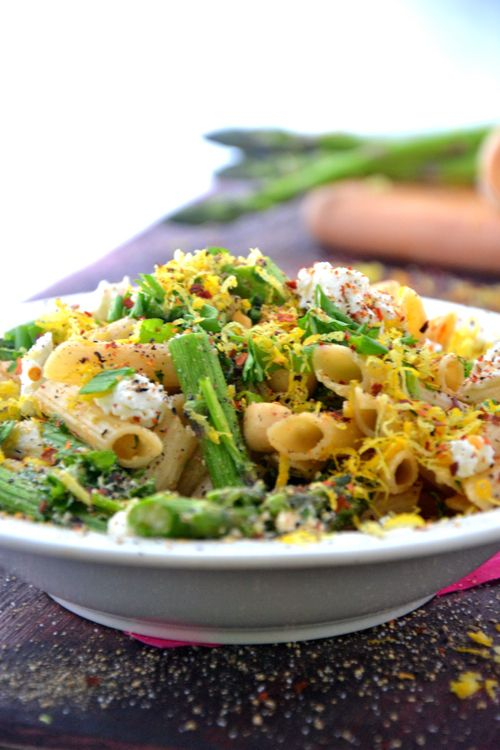 Asparagus Goat Cheese Pasta Salad, with GF pasta