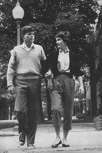 Jack & Jaqueline Kennedy walking the tree lined streets in ballet flats & converse sneakers