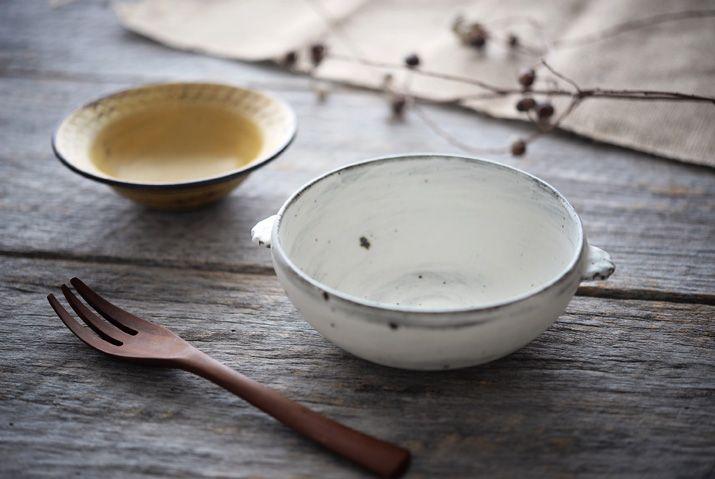 スープ鉢(耳付・白) 作家「武曽健一」/和食器flatto(フラット)