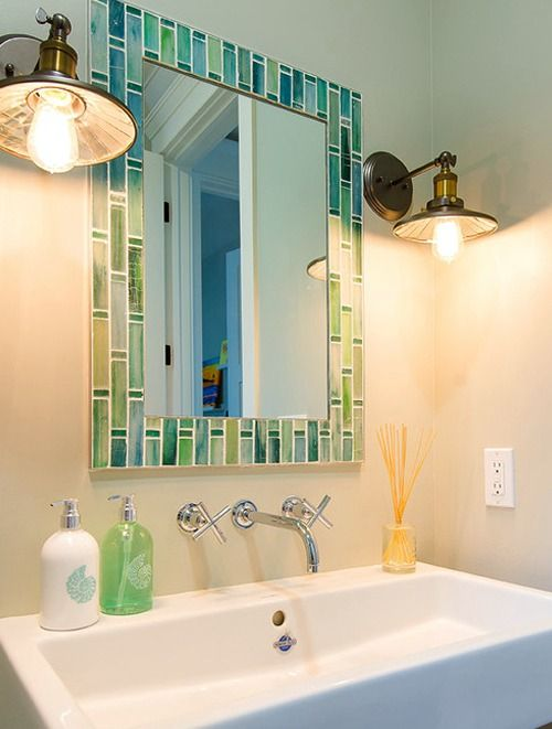 Seaglass Color Mosaic Mirror... http://www.completely-coastal.com/2016/09/decorative-bathroom-mirrors-coastal.html