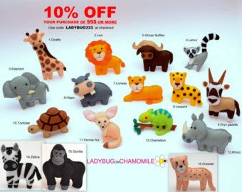 AFRICAN SAFARI ANIMALS felt magnets, the first part - Price per 1 item - make your own set - Lion, Lemur, Rhino, Tortoise, Hippo, Chameleon